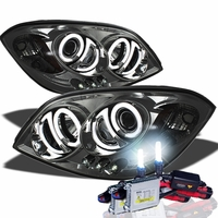 HID Xenon + 05-10 Chevy Cobalt / Pontiac G5 Angel Eye Halo Projector Headlights - Smoked