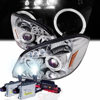 HID Xenon + 05-10 Chevy Cobalt / Pursuit / G5 Angel Eye Halo LED Projector Headlights - Chrome
