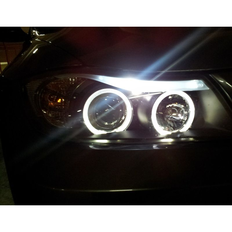 Hid Xenon 06 08 Bmw E90 3 Series Sedan Angel Eye Halo Projector Headlights Smoked