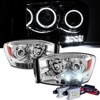 HID Xenon + 06-08 Dodge RAM 1500 2500 3500 Halo LED Projector Headlights - Chrome
