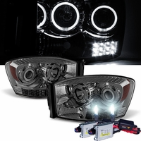 HID Xenon + 06-08 Dodge RAM 1500 2500 3500 Halo LED Projector Headlights - Smoked