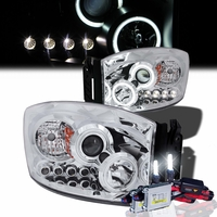 HID Xenon + 06-08 Dodge Ram Angel Eye Halo Projector Headlights - Chrome