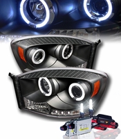 HID Xenon + 06-08 Dodge Ram Dual Angel Eye Halo & LED Projector Headlights - Black