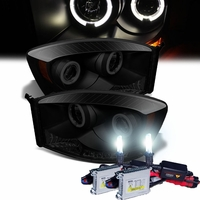 HID Xenon + 06-08 Dodge Ram Dual Angel Eye Halo & LED Projector Headlights - Black Smoked