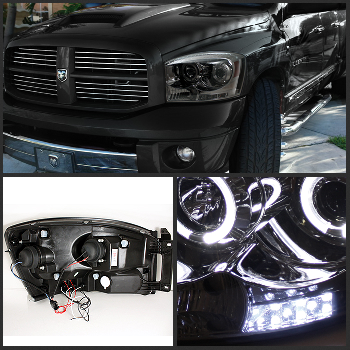 hid xenon 06 08 dodge ram dual angel eye halo led projector headlights smoked 74 2006 dodge ram 1500 hid headlights car autos gallery  at fashall.co