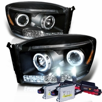 HID Xenon + 06-08 Dodge Ram Truck Angel Eye Halo & LED Projector Headlights - Black
