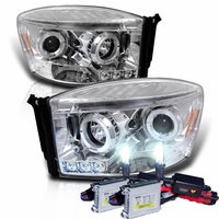 HID Xenon + 06-08 Dodge Ram Truck Angel Eye Halo & LED Projector Headlights - Chrome