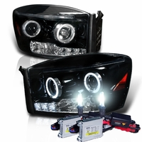 HID Xenon + 06-08 Dodge Ram Truck Angel Eye Halo & LED Projector Headlights - Gloss Black
