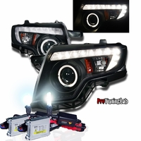 HID Xenon + 07-10 Ford Edge Halo & LED DRL Projector Headlights - Black