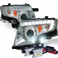 HID Xenon + 07-10 Ford Edge Halo & LED DRL Projector Headlights - Chrome