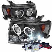 HID Xenon + 07-12 Ford Edge Angel Eye Halo & LED Strip Projector Headlights - Black