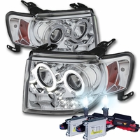 HID Xenon + 07-12 Ford Edge Angel Eye Halo & LED Strip Projector Headlights - Chrome