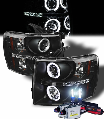 HID Xenon + 2007-2014 Chevy Silverado 1500 2500 3500 Halo & LED Projector Headlights - Black