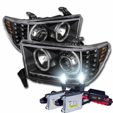 HID Xenon + 07-13 Toyota Tundra / Sequoia Angel Eye Halo & LED Strip / Turn Signal Projector Headlights - Black