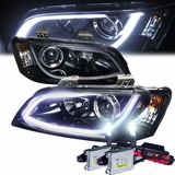 HID Xenon + 08-09 Pontiac G8 LED DRL Bar Projector Headlights - Gloss Black