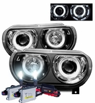 HID Xenon + 08-10 Dodge Challenger CCFL Angel Eye Halo Projector Headlights - Black