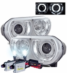 HID Xenon + 08-10 Dodge Challenger CCFL Angel Eye Halo Projector Headlights - Chrome