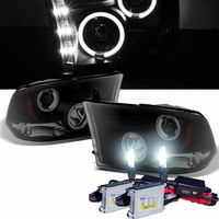 HID Xenon + 09-14 Dodge Ram 1500 / 2500 / 3500 CCFL Halo LED DRL Projector Headlights - Black Smoked