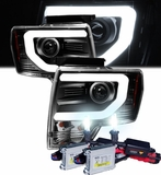 HID Xenon + 09-14 Ford F150 Optic-DRL Performance Projector Headlights - Black