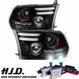 HID Xenon + 09-16 RAM LED DRL [LED Signal] Projector Headlights - Black
