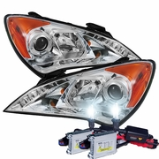 HID Xenon + 10'-12' Hyundai Genesis LED DRL Projector Headlights - Chrome
