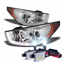 HID Xenon + 10-13 Hyundai Tucson R8 Style LED DRL Projector Headlights - Chrome