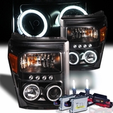HID Xenon + 11-13 Ford F250 / F350 / F450 Superduty CCFL Angel Eye LED Projector Headlights - Black