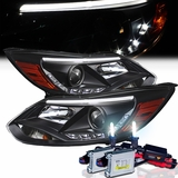 HID Xenon + 12-13 Ford Focus LED DRL (Fiber Optic Style) Projector Headlights - Black