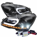 HID Xenon + 12'-13' M-Benz C Class W204 LED DRL Tube Projector Headlights - Black