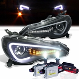 HID Xenon + 12-14 Scion FR-S / Toyota 86 Fiber Optic Style LED DRL Projector Headlights - Black