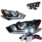 HID Xenon + 13-15 Hyundai Genesis Coupe [Halogen Model] Fiber Optic LED DRL Projector Headlights - Black