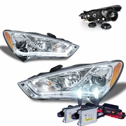HID Xenon + 13-15 Hyundai Genesis Coupe [Halogen Model] Fiber Optic LED DRL Projector Headlights - Chrome