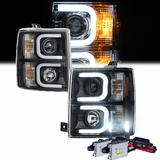 HID Xenon + 14-15 Chevy Silverado Optic-DRL LED Projector Headlights - Black