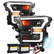 HID Xenon + 15-16 Ford F-150 LED DRL / Signal Projector Headlights - Black