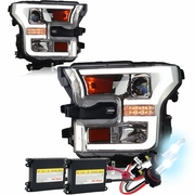 HID Xenon + 15-16 Ford F-150 LED DRL / Signal Projector Headlights - Chrome