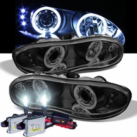 HID Xenon + 1998-2002 Chevy Camaro Halo & LED Projector Headlights - Black Smoked