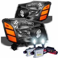 HID Xenon + 2004-2014 Nissan Titan / Armada Replacement Crystal Headlights - Black