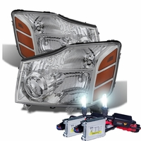 HID Xenon + 2004-2014 Nissan Titan / Armada Replacement Crystal Headlights - Chrome
