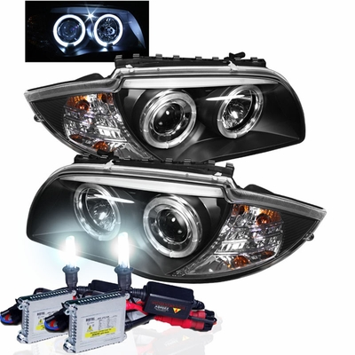 HID Xenon + 2008-2011 BMW 1-Series Angel Eye Halo & LED Projector Headlights - Black