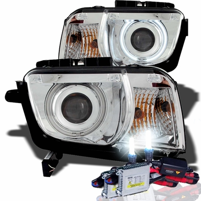 HID Xenon + 10-12 Chevy Camaro CCFL Angel Eye Halo Projector Headlights - Chrome