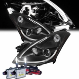 HID Xenon + 2010-2012 Nissan Altima 4DR LED-Tube DRL Projector Headlights - Black