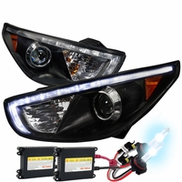 HID Xenon + 2010-2013 Hyundai Tucson LED DRL Projector Headlights Black