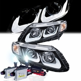 HID Xenon + 2012-2014 Honda Civic U Style Light-Tube Bar Projector Headlights - Black
