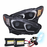 HID Xenon + 2014-15 Mazda 6 LED DRL Projector Headlights - Black