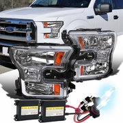 HID Xenon + 2015-16 Ford F150 Pickup Crystal Replace Headlights - Chrome