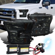 HID Xenon + 2015-16 Ford F150 Pickup Crystal Replace Headlights - Smoked
