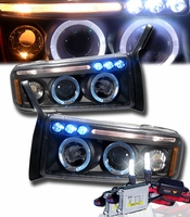HID Xenon + 94-01 Dodge Ram Angel Eye Halo LED Projector Headlights - Black