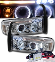 HID Xenon + 94-01 Dodge Ram Angel Eye Halo LED Projector Headlights - Chrome