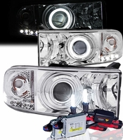 HID Xenon + 94-01 Dodge Ram CCFL (Optional) Angel Eye Halo LED Projector Headlights - Chrome