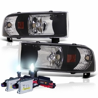 HID Xenon + 94-01 Dodge Ram Truck 1-Piece Crystal Headlights - Black